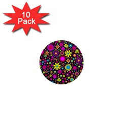 Bright And Busy Floral Wallpaper Background 1  Mini Buttons (10 Pack)