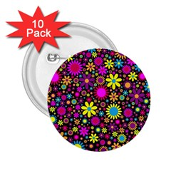 Bright And Busy Floral Wallpaper Background 2 25  Buttons (10 Pack)