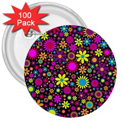Bright And Busy Floral Wallpaper Background 3  Buttons (100 Pack)