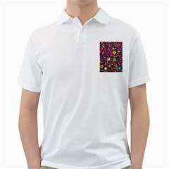 Bright And Busy Floral Wallpaper Background Golf Shirts