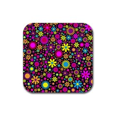 Bright And Busy Floral Wallpaper Background Rubber Coaster (square)
