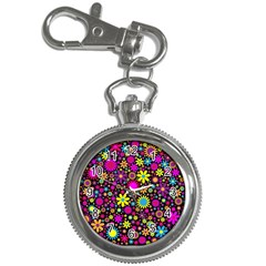 Bright And Busy Floral Wallpaper Background Key Chain Watches