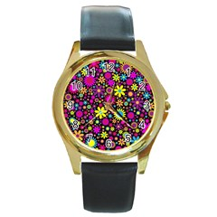 Bright And Busy Floral Wallpaper Background Round Gold Metal Watch