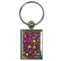 Bright And Busy Floral Wallpaper Background Key Chains (rectangle)