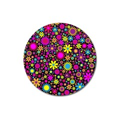 Bright And Busy Floral Wallpaper Background Magnet 3  (round)