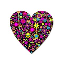 Bright And Busy Floral Wallpaper Background Heart Magnet