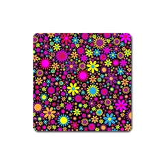 Bright And Busy Floral Wallpaper Background Square Magnet