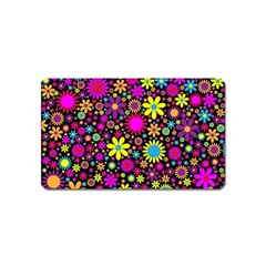 Bright And Busy Floral Wallpaper Background Magnet (name Card)