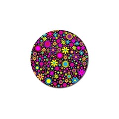 Bright And Busy Floral Wallpaper Background Golf Ball Marker (10 Pack)