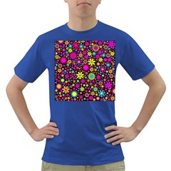 Bright And Busy Floral Wallpaper Background Dark T Shirt