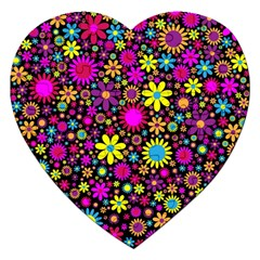 Bright And Busy Floral Wallpaper Background Jigsaw Puzzle (heart)