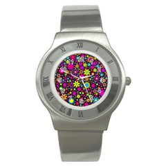 Bright And Busy Floral Wallpaper Background Stainless Steel Watch