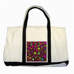 Bright And Busy Floral Wallpaper Background Two Tone Tote Bag