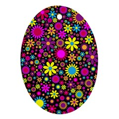 Bright And Busy Floral Wallpaper Background Oval Ornament (two Sides)