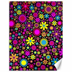 Bright And Busy Floral Wallpaper Background Canvas 12  X 16