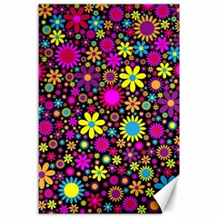 Bright And Busy Floral Wallpaper Background Canvas 24  X 36