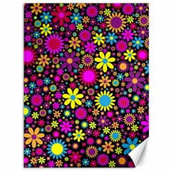 Bright And Busy Floral Wallpaper Background Canvas 36  X 48