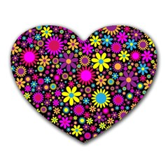 Bright And Busy Floral Wallpaper Background Heart Mousepads