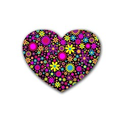 Bright And Busy Floral Wallpaper Background Rubber Coaster (heart)