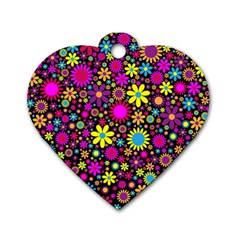 Bright And Busy Floral Wallpaper Background Dog Tag Heart (two Sides)