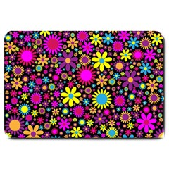 Bright And Busy Floral Wallpaper Background Large Doormat