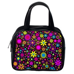 Bright And Busy Floral Wallpaper Background Classic Handbags (one Side)