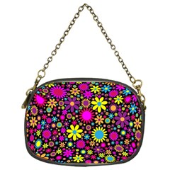Bright And Busy Floral Wallpaper Background Chain Purses (one Side)