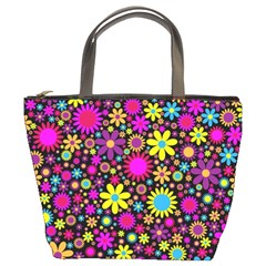 Bright And Busy Floral Wallpaper Background Bucket Bags