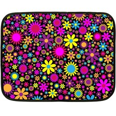 Bright And Busy Floral Wallpaper Background Double Sided Fleece Blanket (mini)