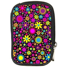 Bright And Busy Floral Wallpaper Background Compact Camera Cases