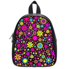 Bright And Busy Floral Wallpaper Background School Bags (small)