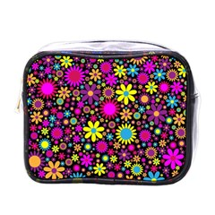 Bright And Busy Floral Wallpaper Background Mini Toiletries Bags