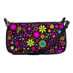 Bright And Busy Floral Wallpaper Background Shoulder Clutch Bags