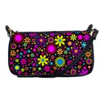 Bright And Busy Floral Wallpaper Background Shoulder Clutch Bags Front