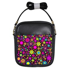 Bright And Busy Floral Wallpaper Background Girls Sling Bags