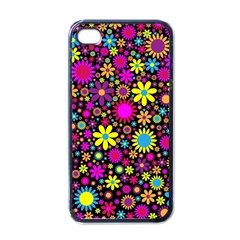 Bright And Busy Floral Wallpaper Background Apple Iphone 4 Case (black)