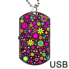 Bright And Busy Floral Wallpaper Background Dog Tag Usb Flash (one Side)