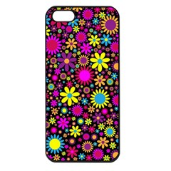 Bright And Busy Floral Wallpaper Background Apple Iphone 5 Seamless Case (black)