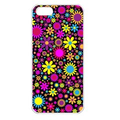Bright And Busy Floral Wallpaper Background Apple Iphone 5 Seamless Case (white)