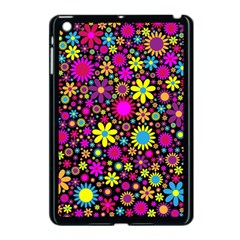 Bright And Busy Floral Wallpaper Background Apple Ipad Mini Case (black)