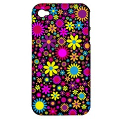 Bright And Busy Floral Wallpaper Background Apple Iphone 4/4s Hardshell Case (pc+silicone)
