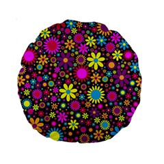 Bright And Busy Floral Wallpaper Background Standard 15  Premium Round Cushions