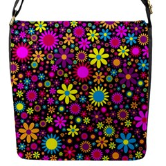 Bright And Busy Floral Wallpaper Background Flap Messenger Bag (s)