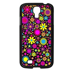 Bright And Busy Floral Wallpaper Background Samsung Galaxy S4 I9500/ I9505 Case (black)