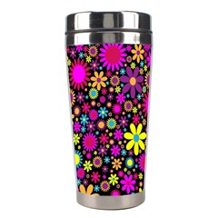 Bright And Busy Floral Wallpaper Background Stainless Steel Travel Tumblers