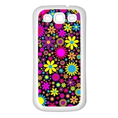 Bright And Busy Floral Wallpaper Background Samsung Galaxy S3 Back Case (white)