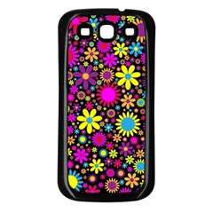 Bright And Busy Floral Wallpaper Background Samsung Galaxy S3 Back Case (black)