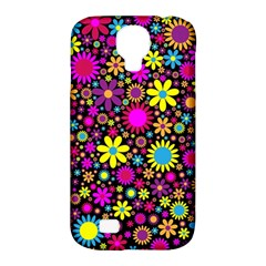 Bright And Busy Floral Wallpaper Background Samsung Galaxy S4 Classic Hardshell Case (pc+silicone)