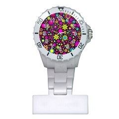 Bright And Busy Floral Wallpaper Background Plastic Nurses Watch
