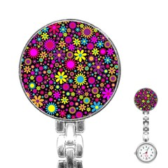 Bright And Busy Floral Wallpaper Background Stainless Steel Nurses Watch